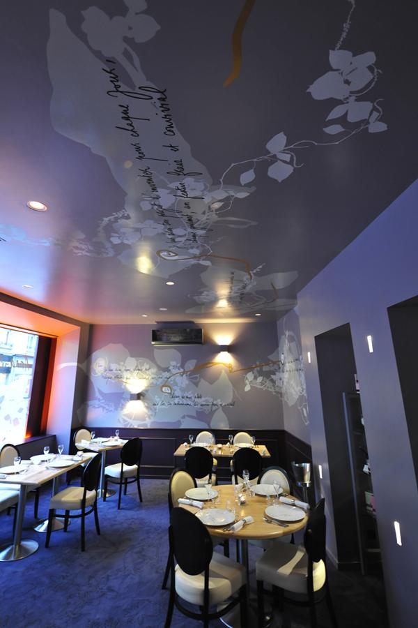 Scénographie murale et poétique pour le restaurant Anna s. la table amoureuse