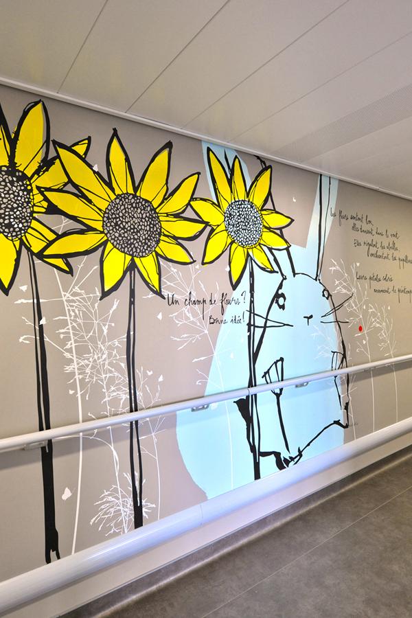 Service onco-hématologie pédiatrique - Hôpital de la Timone - Design mural semi-mesure