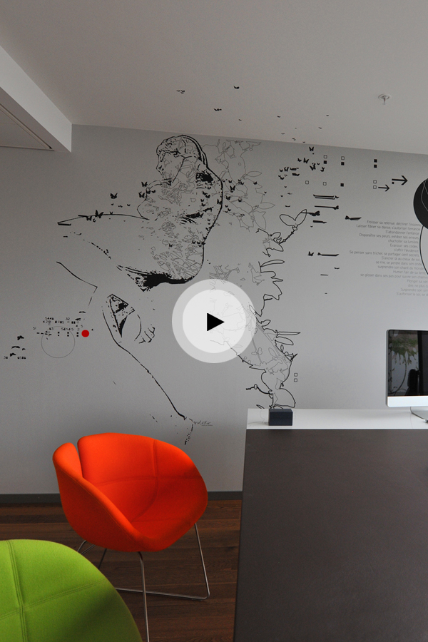 Making of de l'installation de design mural pour le cabinet de chirurgie Clinique de la Colline à Genève