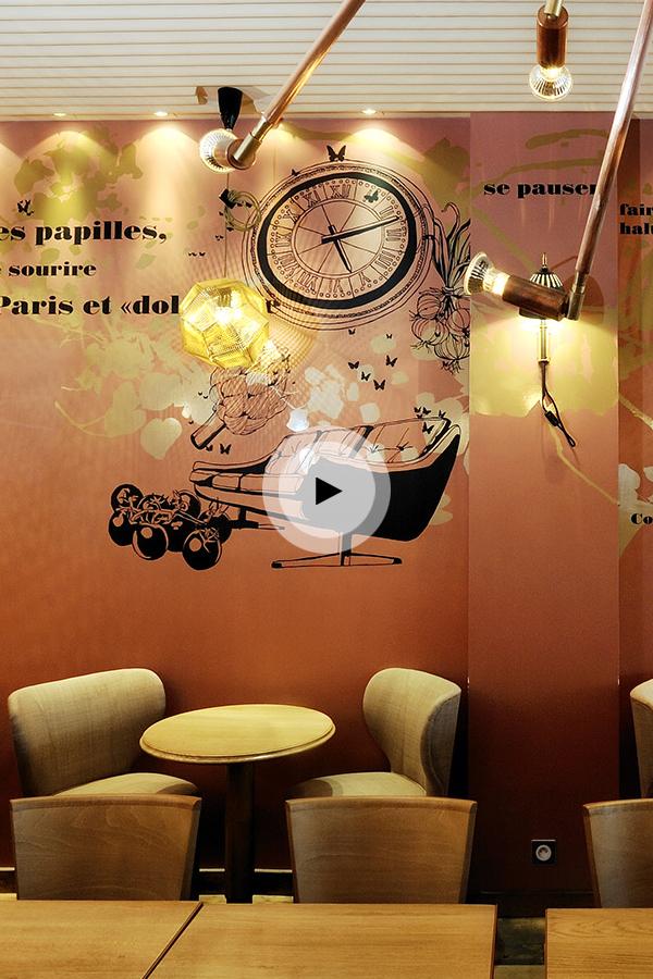 """Making of de l'installation de design mural à la brasserie """"Le Préaumur"""" à Paris"""