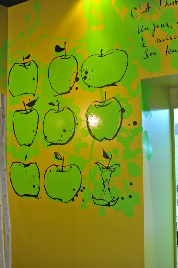 design mural - pomme de carotte - restaurant